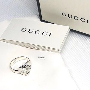 New Authentic Gucci Blind For Love Heart Ring Sz 6